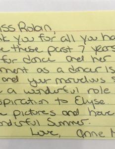hand written testimonial