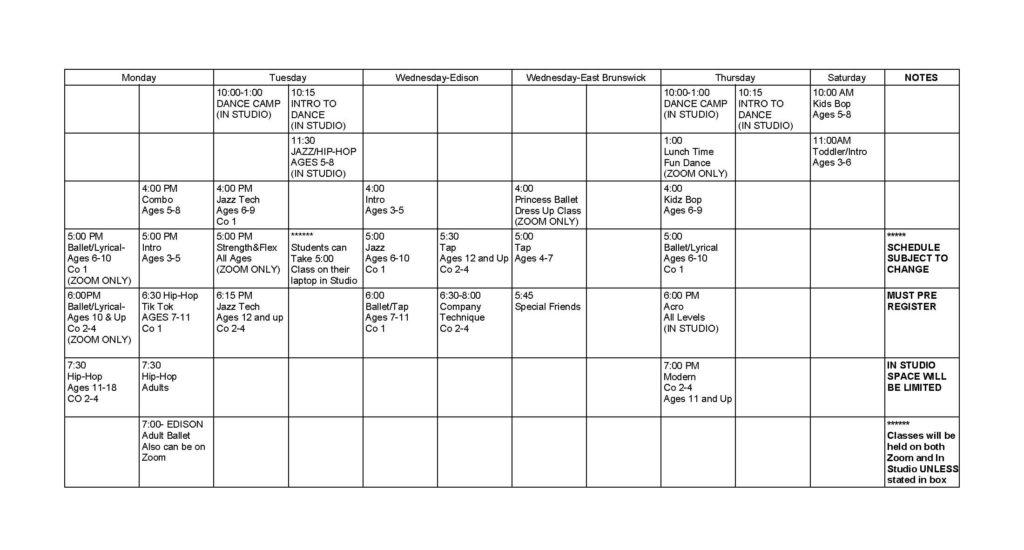 summer schedule 2020